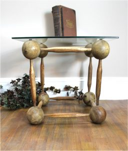 Wooden Ball and Spindle Cube Hand Made End Coffee Table Old Finish