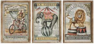Circus Framed Wall Art 3pcs Antique French Cirque Art Work