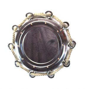 Big Silver Finish Porthole Mirror with Rope Nautical Ships Boat Decor
