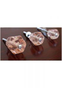 """1.5"""" PINK Glass Cabinet Knobs Pulls Vintage Dresser Drawer Hardware 10 pcs"""