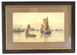 J F Branagan Yarmouth Watercolor Painting Boats Sailing Ships Watercolor Antique