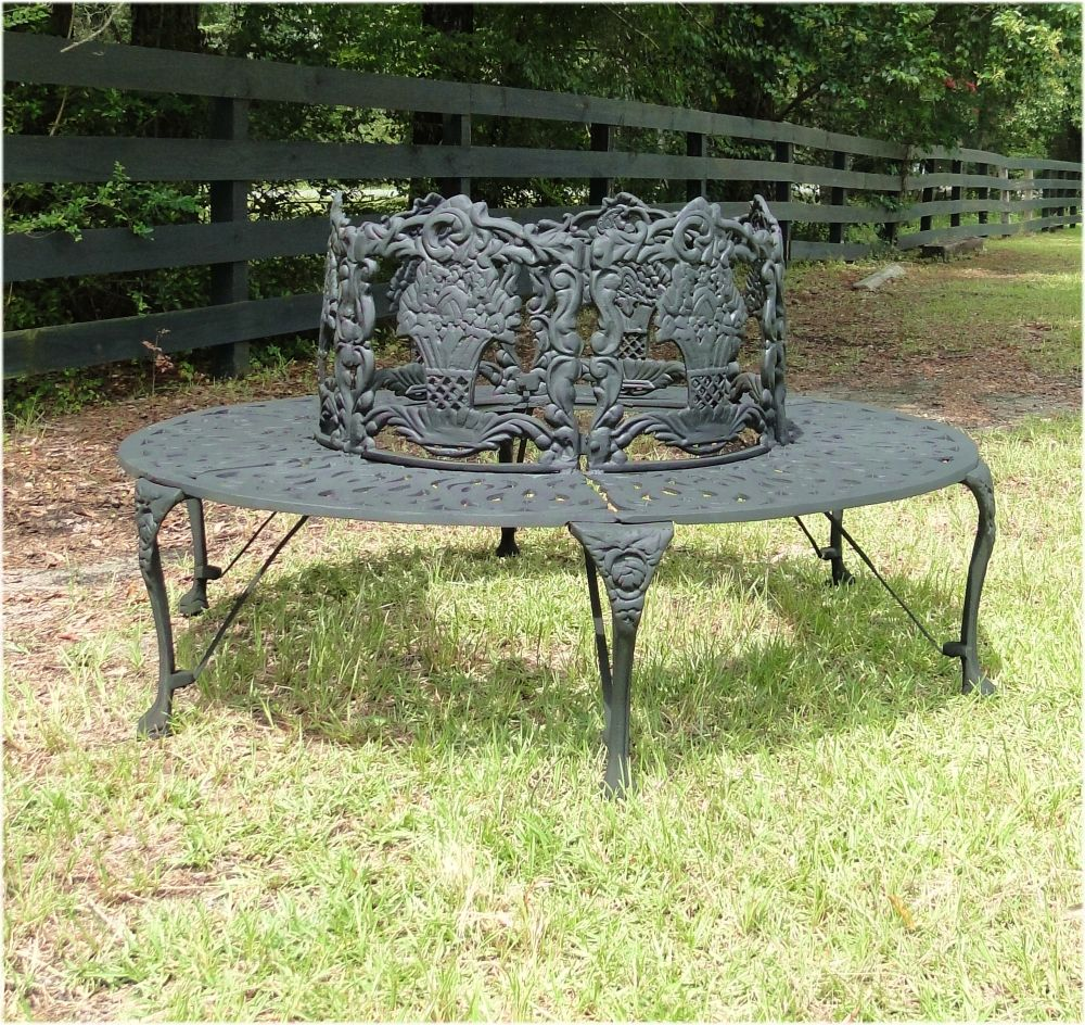 Victorian Tree Surround Vintage Replica Garden Furniture Old Fashioned Outdoor Bench Biggest 4