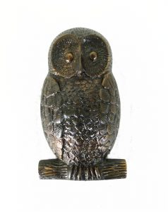 OWL Solid Brass Door Knocker Hoot in Antiqued Darkened Bronze Finish
