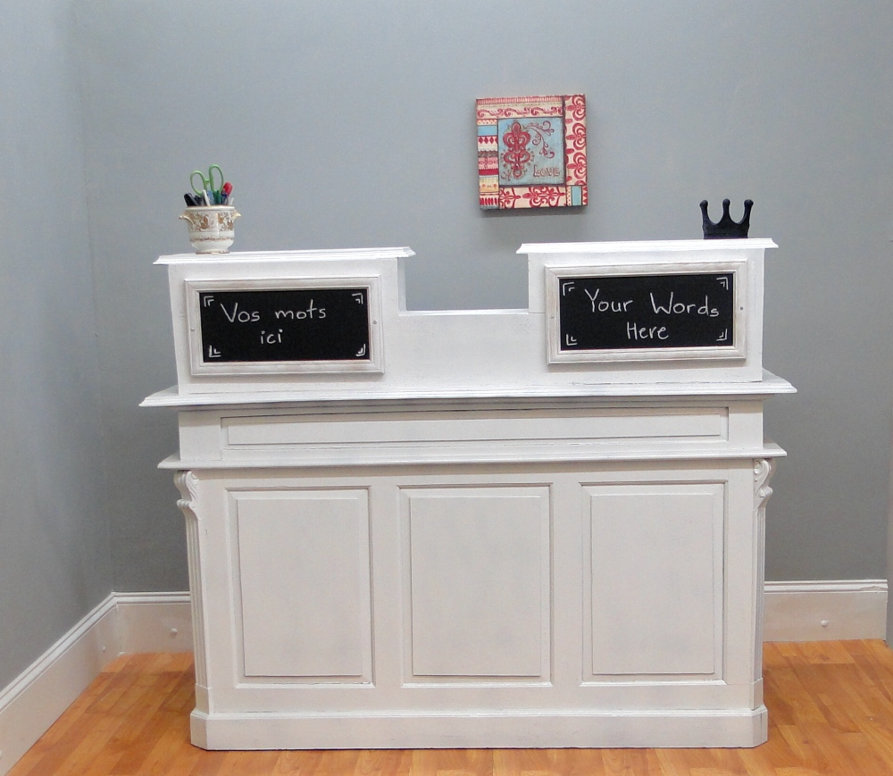 Cottage Chic Antique Painted White Store Counter, French Restaurant Desk, Reception  Desk - Cottage Chic Antique Painted White Store Counter, French