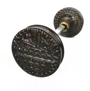 Vintage DARK Brass Eastlake Victorian Arts and Crafts Style Door Knob Pair