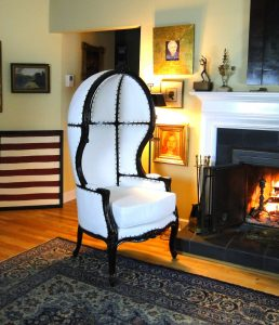 Antique Downton Abbey Dome Hearth Porters Chair, White Fabric Balloon Bonnet Canopy