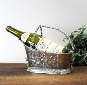 Silver Wine Caddy With Lion Head & Ring Server Table Display