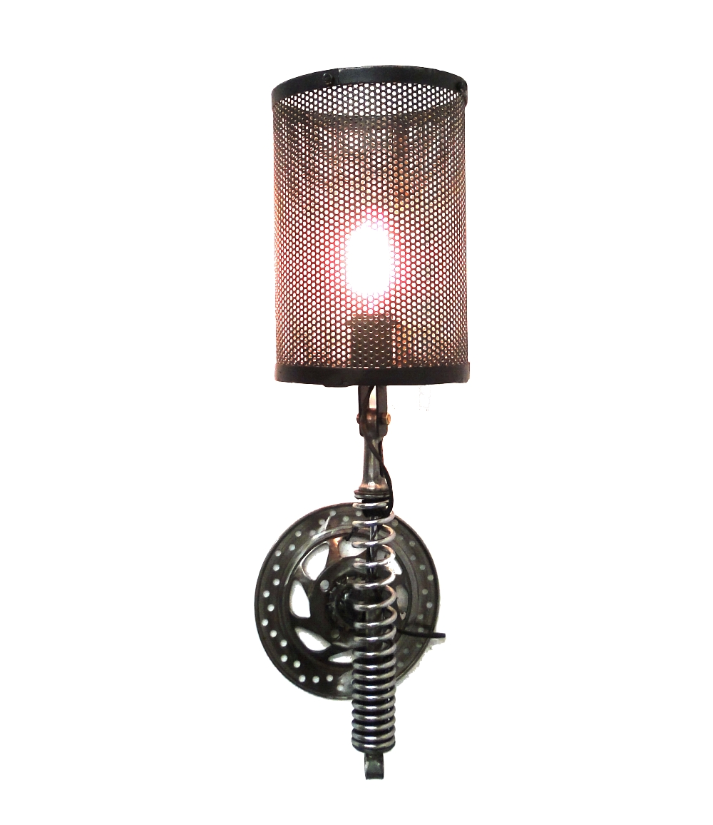 Wall Mount Lamp Parts : Wall Mount Motorcycle Clutch & Spring Sconce Light Fixture Antique Parts Steampunk - The Kings Bay