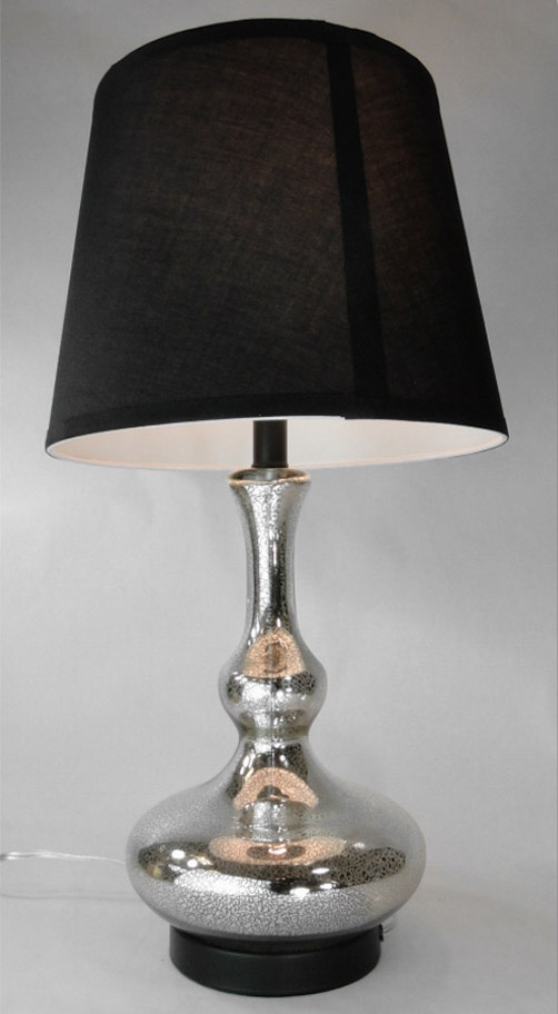 Gorgeous Aged Mercury Glass End/Side Table Lamp w Nice Crackled Mirror Finish