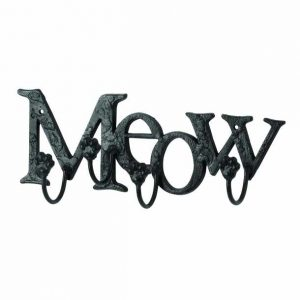 MEOW Cat Kitten Lovers Metal WALL HOOKS, Written Letters, Animal Paw Prints rack