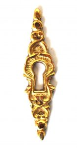 Vertical Vintage Style Cast Brass key hole cover cabinet and door hardware
