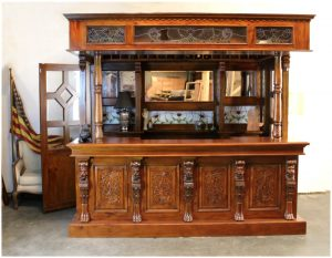 Lion Crest Tiffany Glass CANOPY TAVERN Bar Pub Furniture with Wine Racks Antique Replica