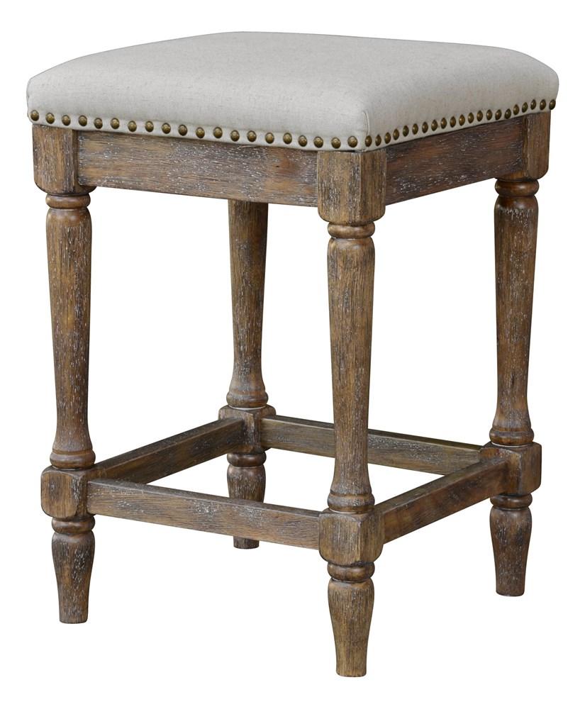 Fabric Kitchen Stools: Kitchen Counter Stool Vintage Style Linen Fabric Seat