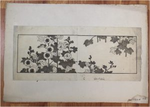 Antique Asian Japanese Block Print Leaves and Flowers Hand Made Paper Art
