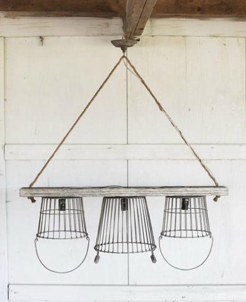 Vintage Iron Country Baskets kitchen CHANDELIER wood chic cottage lighting old