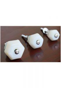 "1"" Milk Glass WHITE Glass Cabinet Knobs Pulls Vintage Dresser Drawer Hardware 25 pcs"