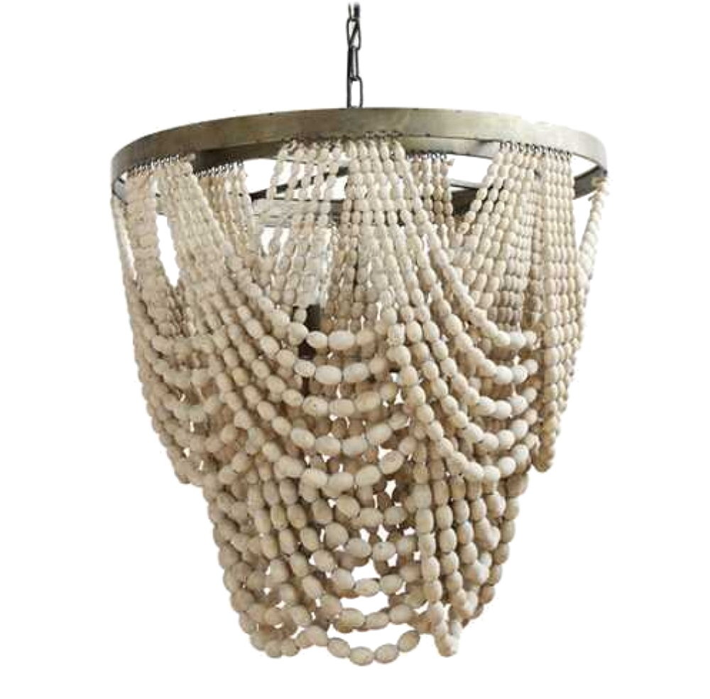 Natural wood beaded chandelier with drapery aligned high for Natural wood chandelier