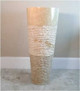 Contemporary Modern Ridged Marble Stone Cone Pedestal Sink, Danish, Swedish