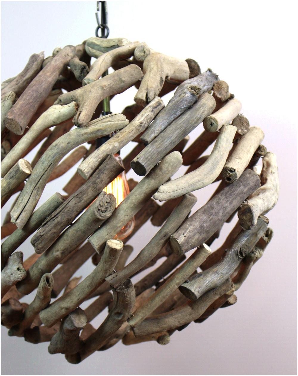 Big Driftwood Ball Pendant Chandelier Ceiling Mounted Light Fixture Nautical Rustic Lodge Feel