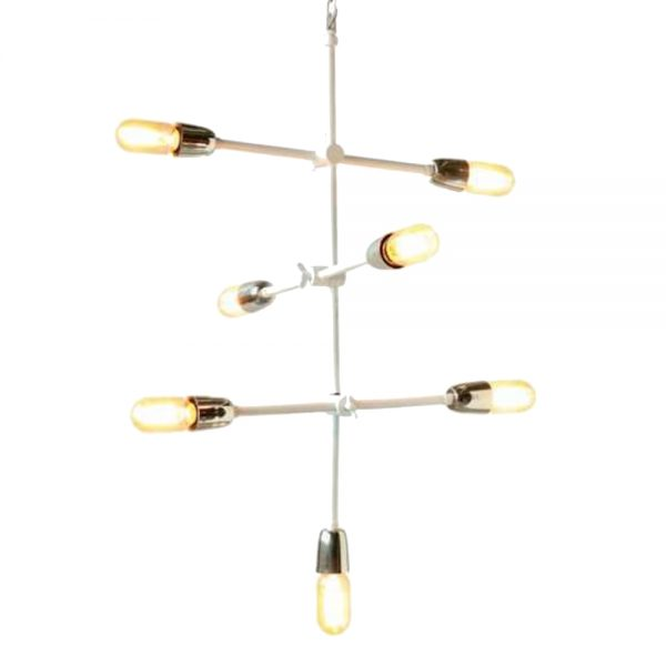 Modern Sputnik Hanging 7 Bulb Straight Rods With Arms Contemporary Chandelier Light