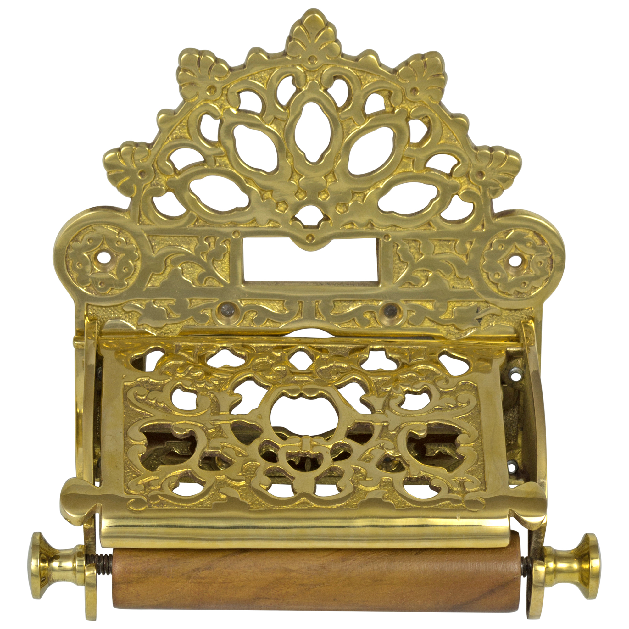 French Victorian Polished Brass Toilet Paper Holder w Fan Top Antique Replica