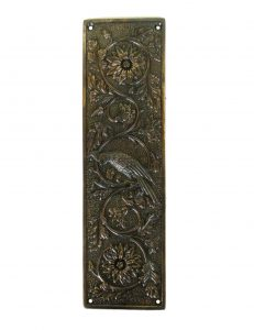 Parrot Push Plate Bird Motif Door Hardware Vintage Restoration Replica Aged Bronze