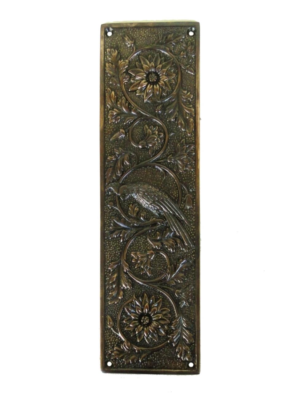 Parrot Push Plate Bird Motif Door Hardware Vintage Restoration Replica Aged Bronze 1