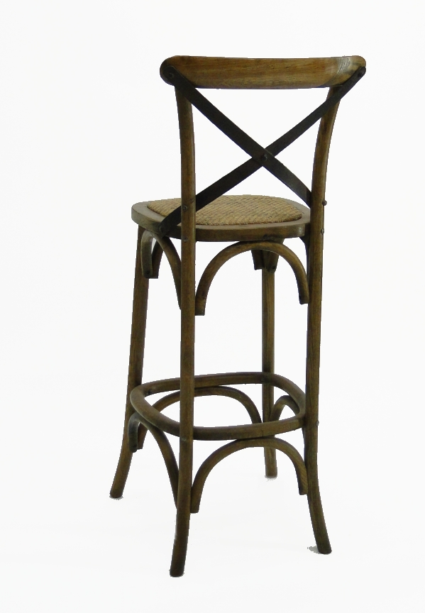Wood Iron And Rattan Cane Seat Vintage Old Style Oak Bar