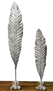 Pair of Big Quill Feathers Writing Desk Art Sculpture Stamped Tin