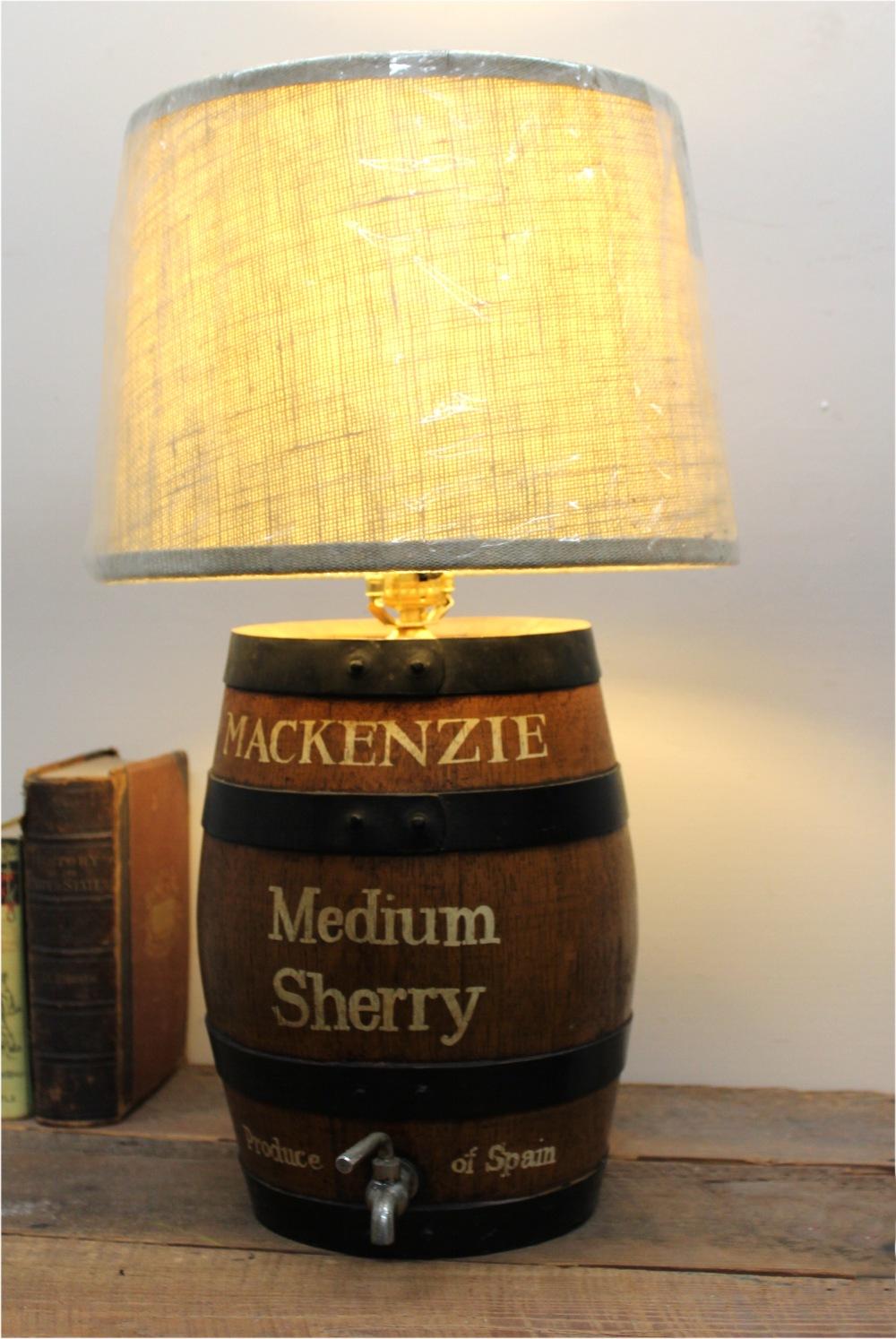 Medium Mackenzie Sherry Oak Cask Barrel Table Lamp With Shade, ...