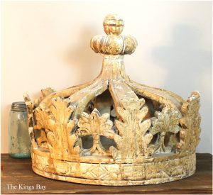 White Shabby Chic Old Style Aged Wooden Crown with Leaves Hand Made