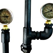 Hand Crafted Industrial Steampunk Metal Pipe Cage Lamp w Gauges