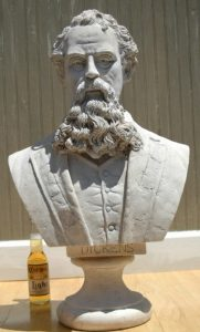 Charles Dickens Life Size Bust Statue a Christmas Carol, Faux Marble Sculpture