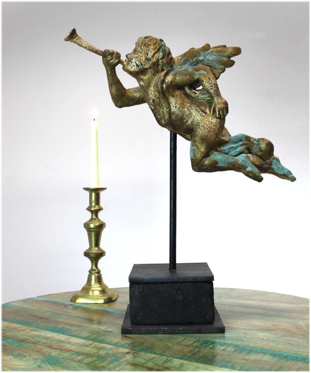 Big Gabriel Angels with Gold Leaf Trumpet on Heavy Iron Pedestal Pair