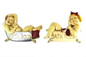 Bathroom Door Signs Man & Woman in Claw foot Bath Tubs w Cigar Scrub Brush Fun