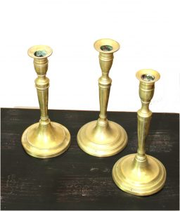 Antique Solid Brass Hand Made CANDLESTICKS 3pcs