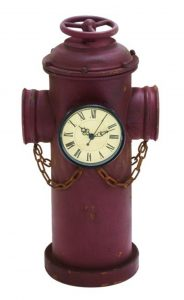 Aged Antique Style Red Double Face Fire Hydrant Clock, Tin Metal ( Clock Faces on Both Sides )
