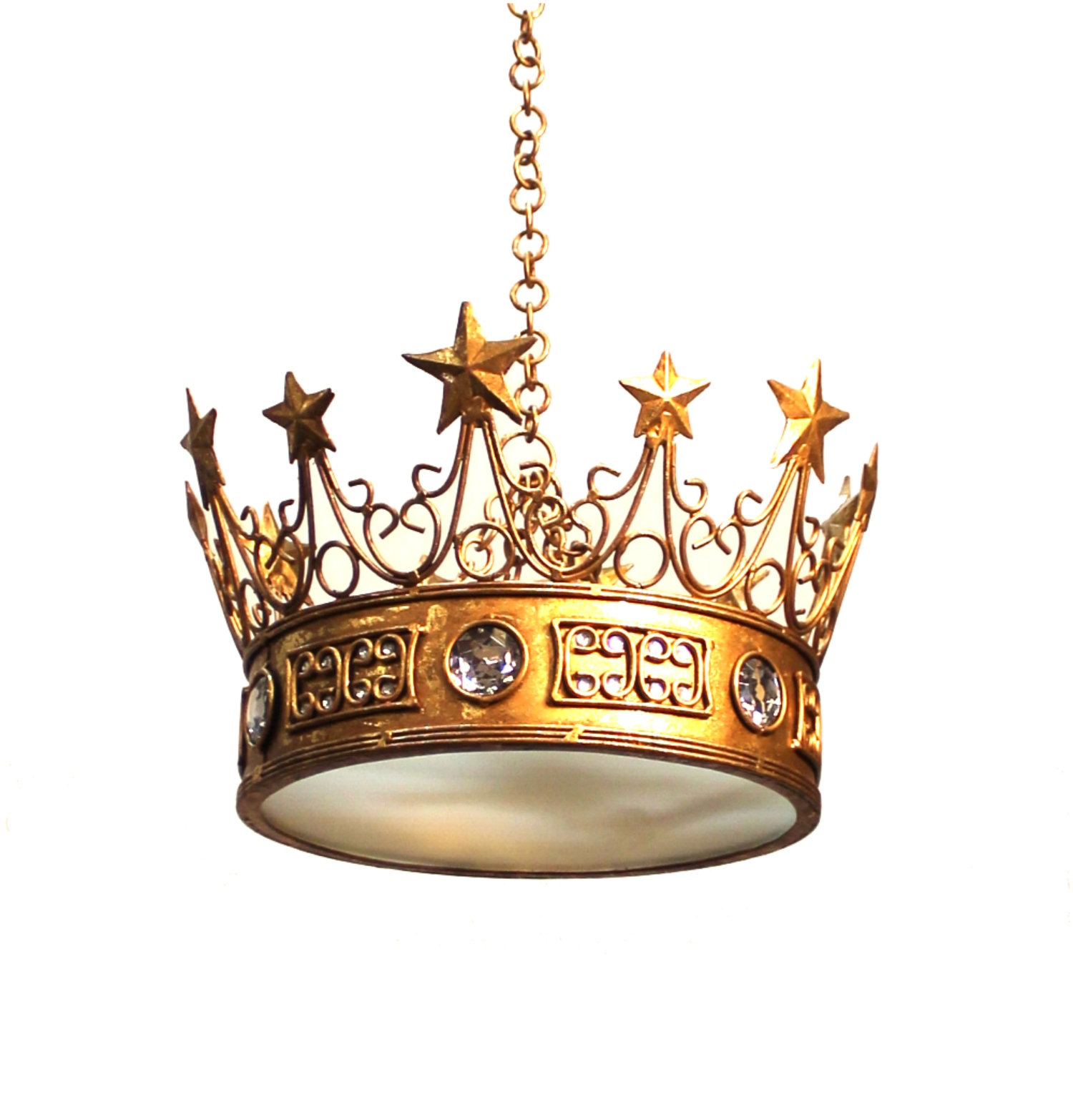Gold Leaf Star Crown Chandelier With Clear Jewels Prince