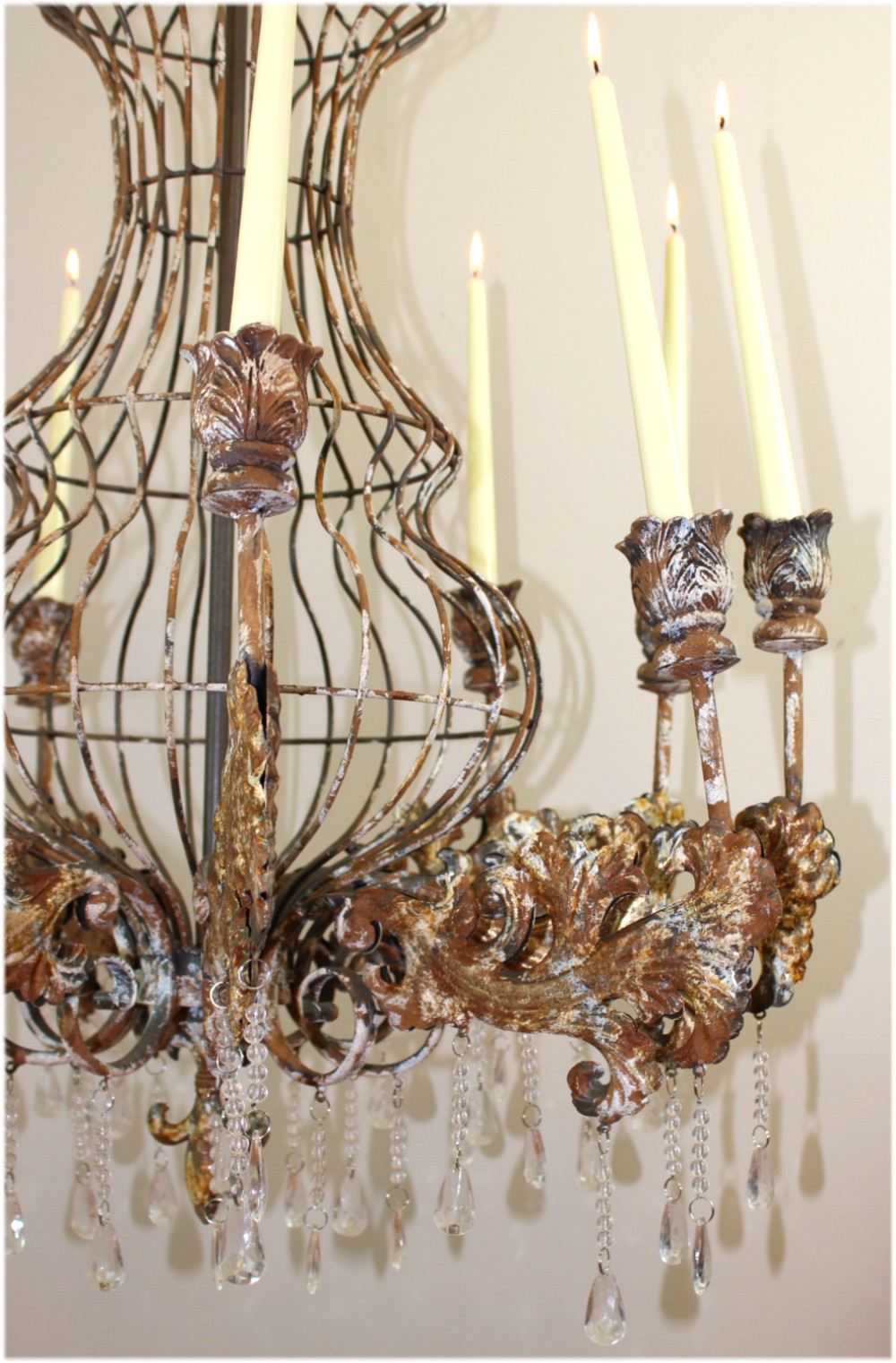 Huge Big Candle Rustic Tin Chandelier w Crystals for Home or Movie Studio Prop Old Finish