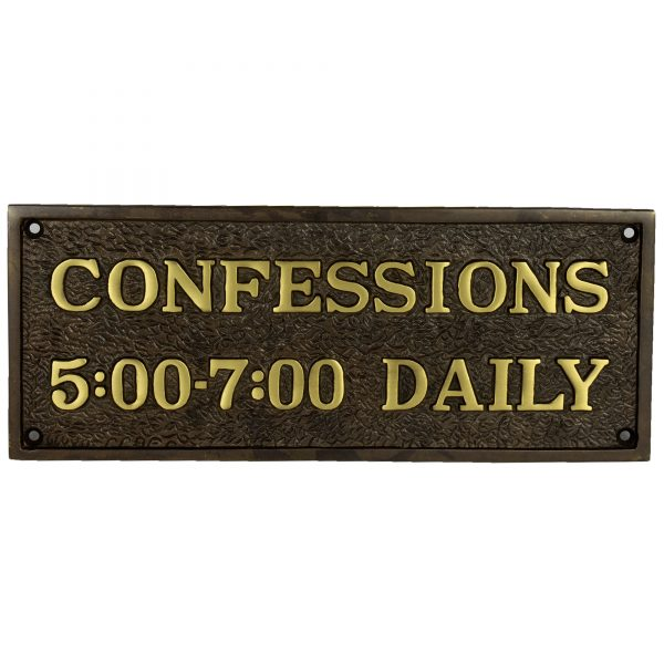 Humorous Catholic Confessions Plaque Sign Bronze Brass Vintage Finish