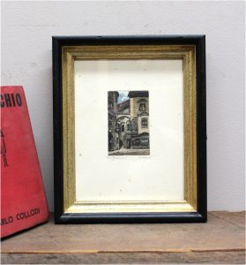 German Old Street Etching Signed Antique Art