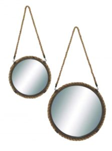 Round Mirrors Aged Steel with Rope Hemp Edge Sold as Pair Old Style