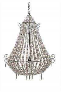 BIG White Wood Beaded Chandelier, Old Country French Style Wooden Beads