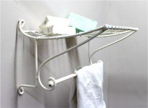 Bathroom Shelf and Towel Rack White Steel Train Station Shape