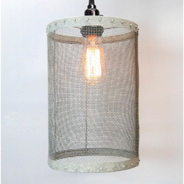 Mesh Wire Barrel Pendant Light Fixture Aged Galvanized Look Old Fashioned Style Round Barrel & Mesh Wire Barrel Pendant Light Fixture Aged Galvanized Look Old ... azcodes.com