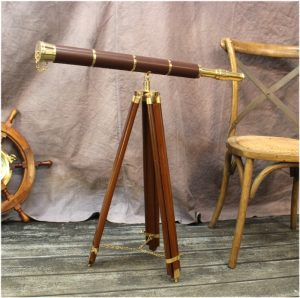 "Big Telescope on Adjustable Stand Leather Brass 50"" Tall Antique Reproduction"