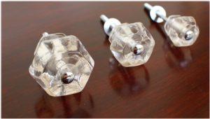 """1.25"""" CLEAR Glass Cabinet Knobs Pulls Vintage Dresser Drawer Hardware"""