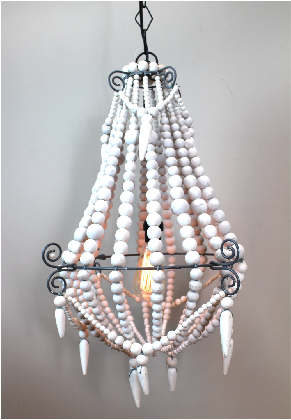 Medium White Wood Beaded Chandelier Old Country French