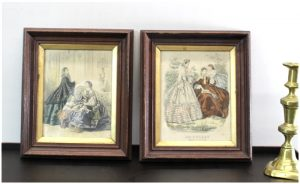 Set of Antique Framed Victorian Prints of French Woman and Girls Dresses/Clothing