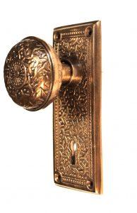 Door Passage Set Rice Pattern Aged Bronze Hardware for Restoration